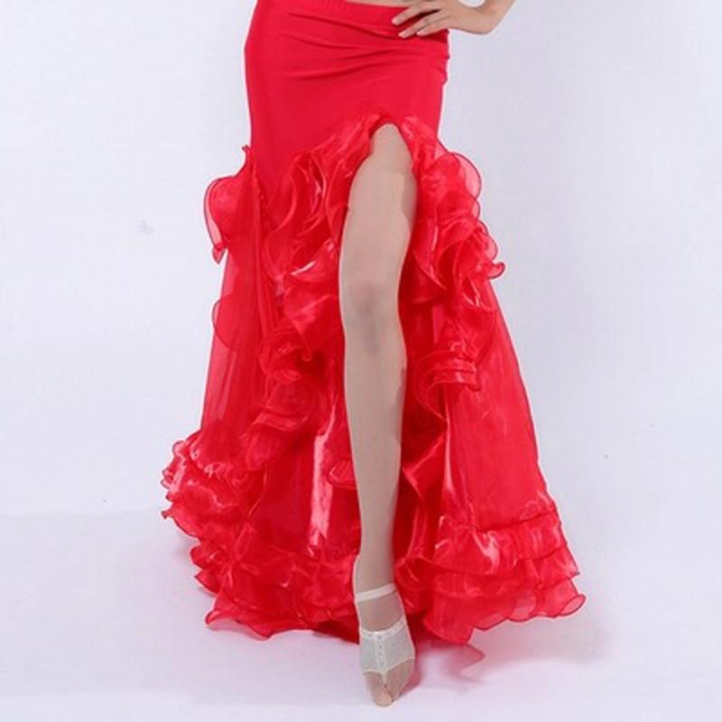 Hot-sale Professional Belly Dance Skirt 8 Colors Sexy Long Flamenco Skirt Side Split For Women Girls Belly Dance Costume Skirts Fine Craftsmanship