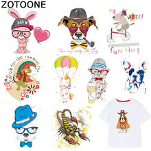 ZOTOONE Animal Patches Colorful Dog Unicorn Sticker Iron on Transfers for Clothes T-shirt Heat Transfer Accessory Appliques F1(China)