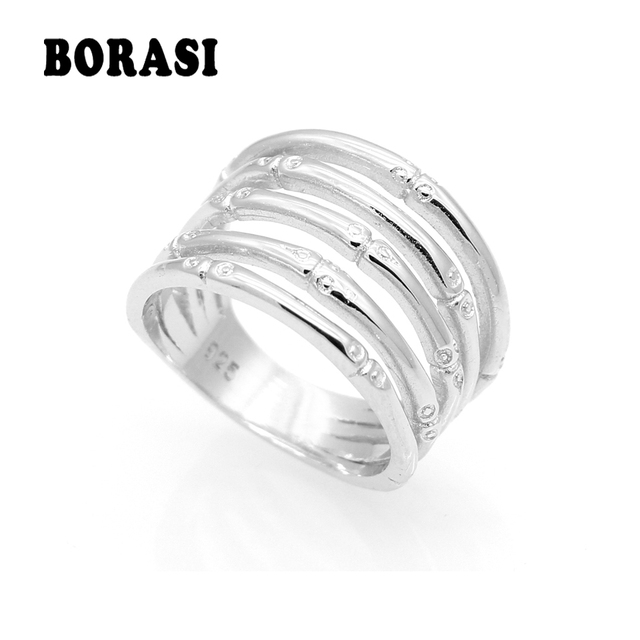 Fashion Female Fine Jewelry Wedding Ring For Women Anti-Tarnish Rhodium Color On
