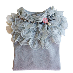 Image 4 - School Girl School Blouse Thermal Underwear For Children Autumn / Winter Long Sleeve Plus Velvet Thick 100% Cotton Lace Princess