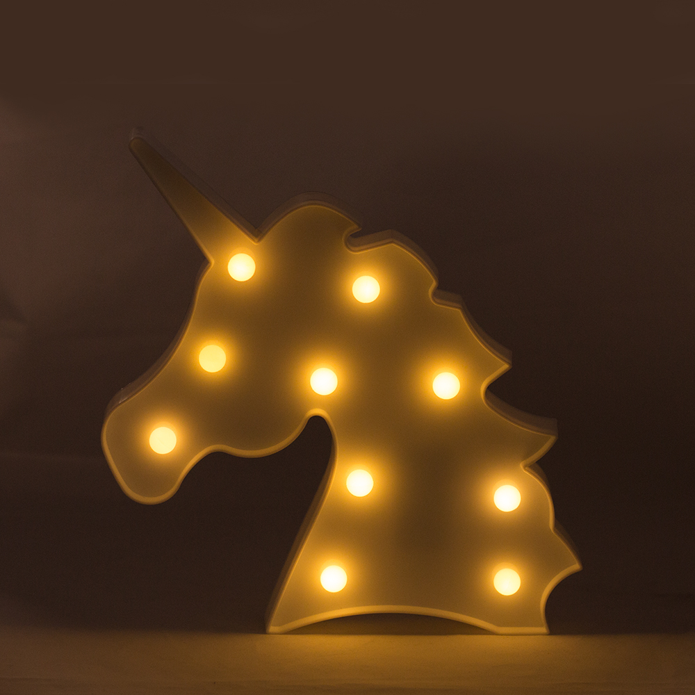 Decorative Wall Night Lights : 3D Unicorn LED Marquee Light Hanging wall or stand Night Light Home Decor Table lamp for Kids ...