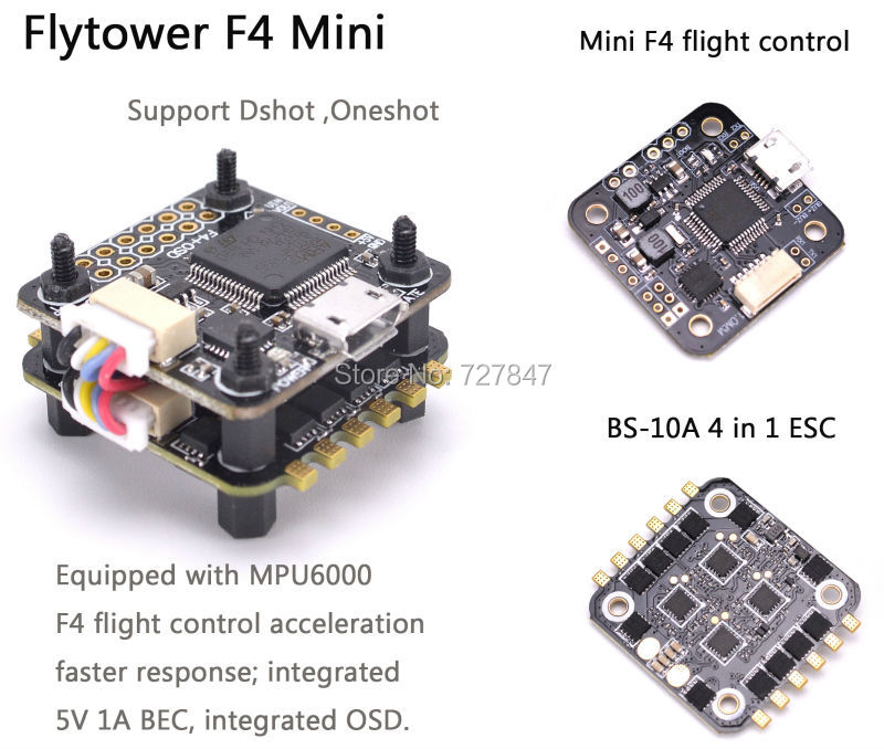 Mini F4 Flytower Flight control Integrated OSD 4 in 1 ESC Built-in 5V 1A BEC Support Dshot For FPV RC Drone upgrated flytower f4 pro flight controller board integrated osd 40a 4 in 1 w transmitter esc for fpv drone spare parts