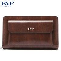 BVP Brand Organizer Wallet Genuine Leather Double Zipper Clutch Bag Man Cow Leather Long Purse Multi