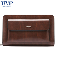 BVP Brand Organizer Wallet Genuine Leather Double Zipper Clutch Bag Man Cow Leather Long Purse Multi