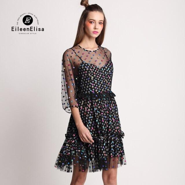 fe1eb3d34a04 2017 Mesh Dresses EE Short Black Sexy Dresses Evening Summer Dresses Casual  Knee Length Runway Women Dress Long Sleeve