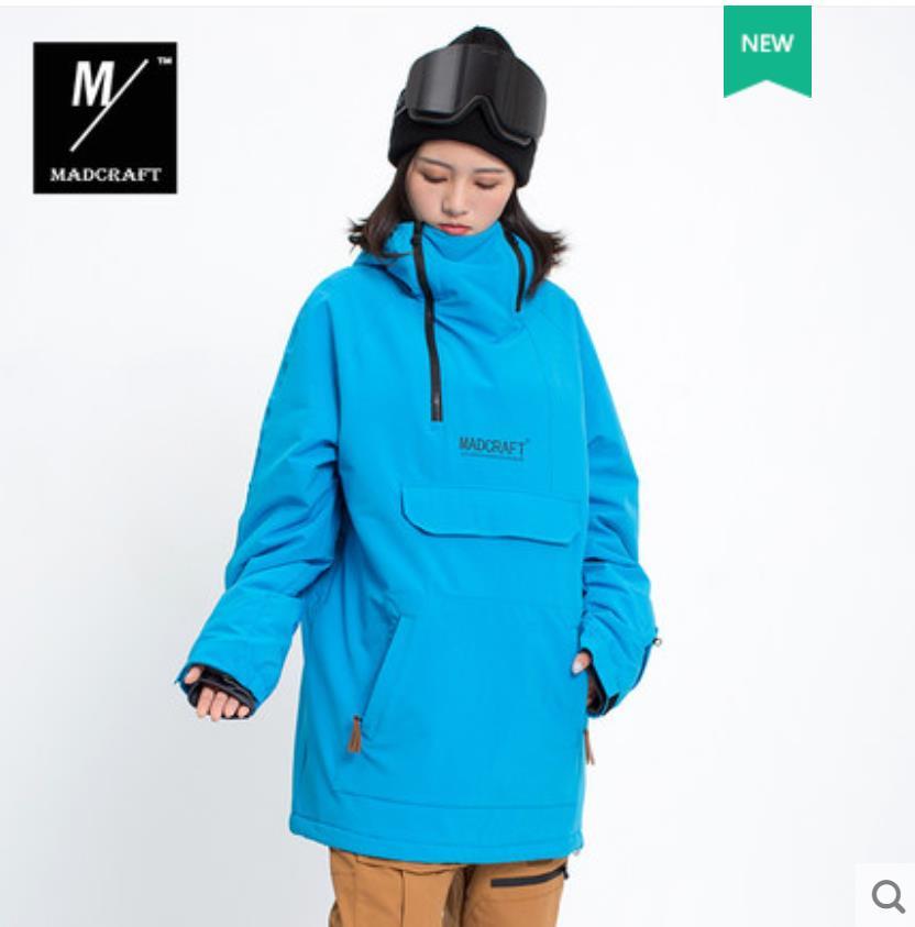 Пуловер Лыжная куртка мужская зимняя теплая и ветрозащитная водонепроницаемая одежда для сноуборда лыжное снаряжение черный комбинезон зимние куртки-30 - Цвет: BLUE JKT