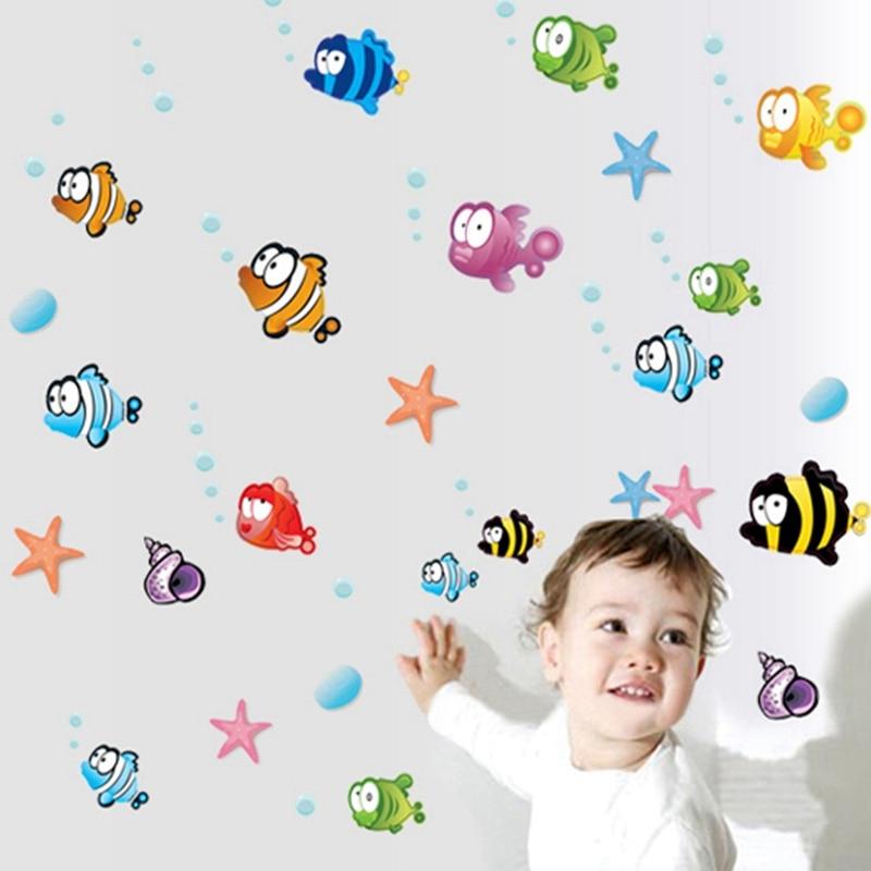 60 x 140 cm Μικρό ψάρι Μπάνιο αυτοκόλλητο τοίχου Αδιάβροχο διακοσμητικό σπιτιού Decal Wall Decal για το μωρό Παιδικό δωμάτιο Σπίτι βινυλίου τοιχογραφία