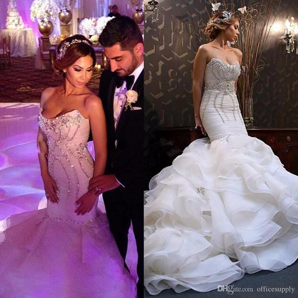New vintage 2017 mermaid wedding dresses bling crystal for Big bling wedding dresses