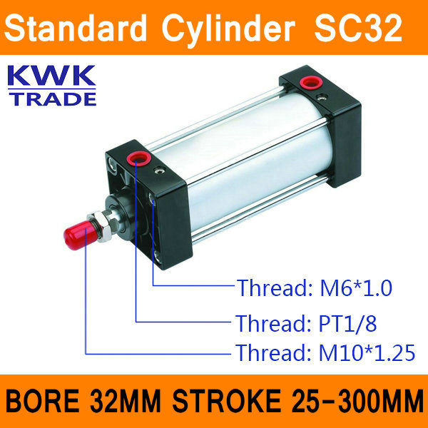Standard Air Cylinders Valve SC32 Bore 32mm Strock 25mm to 300mm Stroke Single Rod Double Acting Pneumatic Cylinder compact air cylinders double acting pneumatic air cylinder sda32 25 32mm bore 25mm stroke