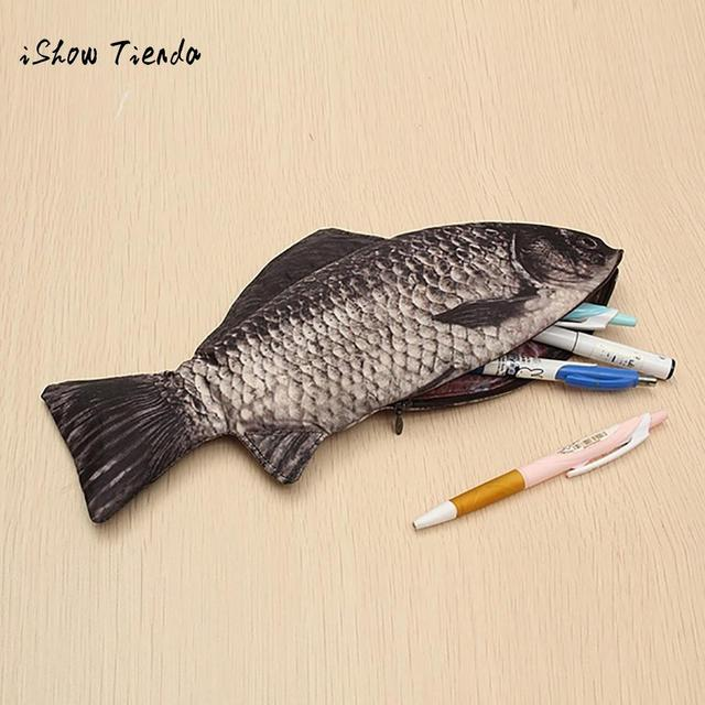Carp Pen Bag Realistic Fish Shape Make-up Pouch Pen Pencil Case With Zipper Makeup Pouch Casual Gift Toiletry Wash Handbags