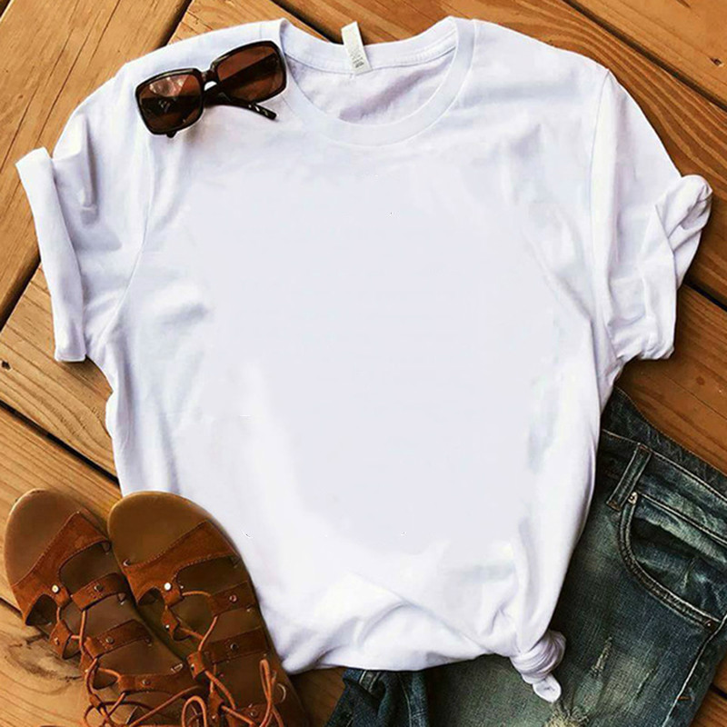 New White T-shirt Summer Harajuku Casual Tees 100% Cotton O-Neck Solid Color Women T-Shirt Super Soft Comfortable T-Shirt