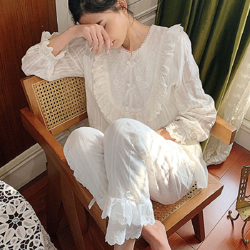 Spring Sweet White Lace Cotton Women's Embroidery Pajamas Sets Soft Vintage Princess Sleepwear Suits Autumn Pyjamas Plus Size
