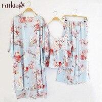 3 Pieces Set New Autumn Winter Pajamas Women Vintage Print Pyjamas Set Ladies Cotton Sleepwear Women
