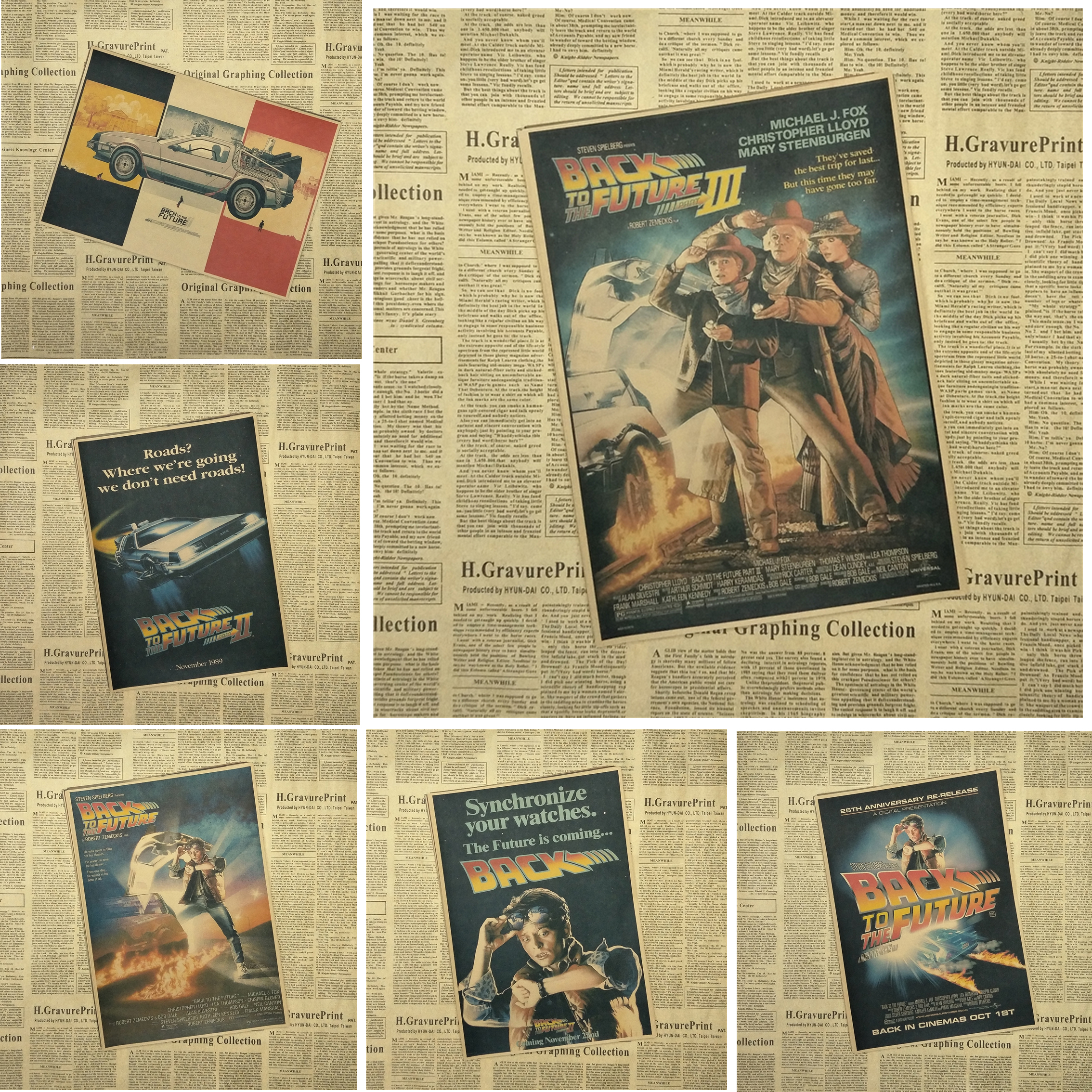 Back To The Future Classic Movie Kraft Paper Poster Bar Cafe Living Room Dining room Wall