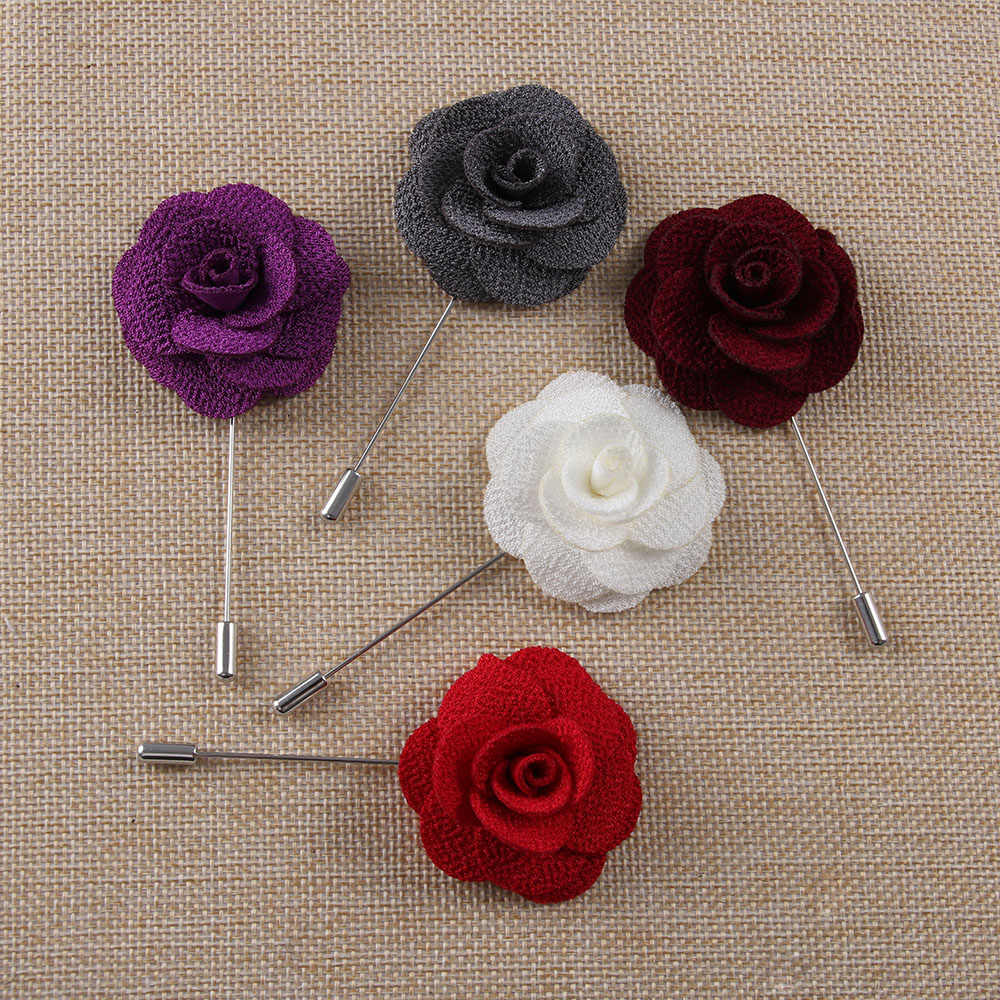 HOT Handmade Flower Brooch Pin Badge Fabric Camellia Flower Lapel  Accessories For Shirt Collar Men's Suit Wedding Boutonniere