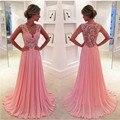 Eveniong coral rosa lace vestidos de baile 2016 longa formal vestidos chiffon dress para a graduação vestido de baile vestido de formatura