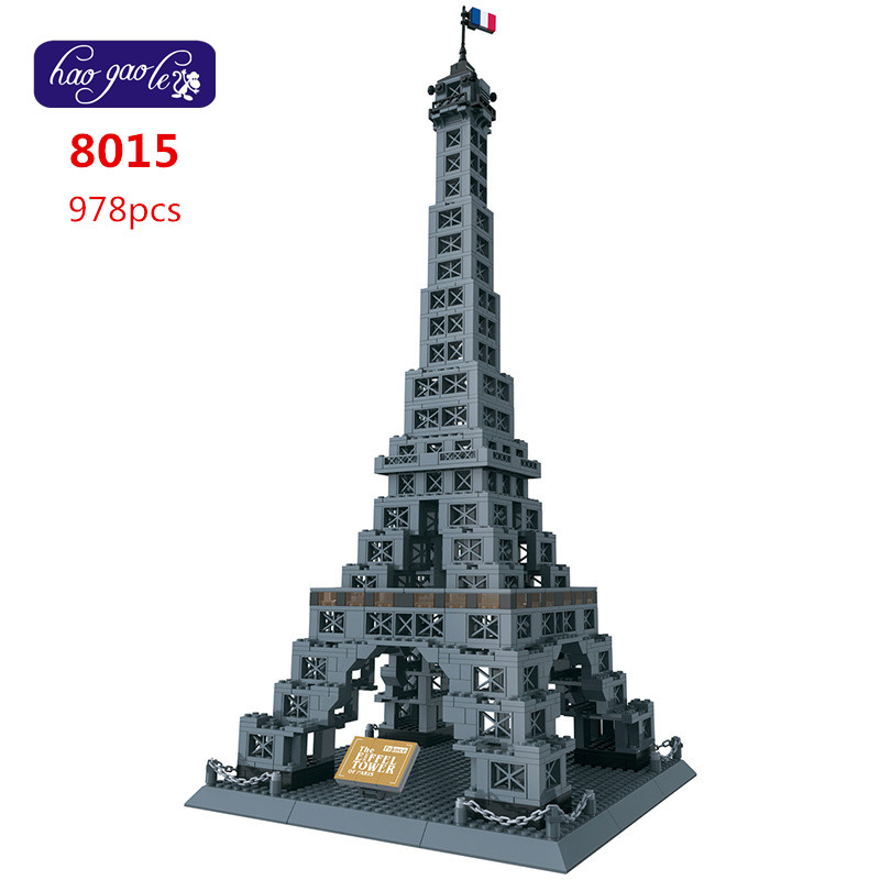 Free Shipping WanGe 8015 THE EIFFEL TOWER OF PARIS 3D DIY 978PCS large Bricks blocks Building sets educational block toys free shipping wange dr luck 32212n 264pcs city girls house garden 3d diy plastic building bricks blocks sets children kids toys