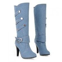 Plus Size 2015 New Sexy Denim Boots Cowboy Boots For Women Punk Fashion High Heel Boots Ladies Chaussure Femme Botte  45#D75