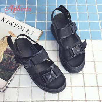 Aphixta 8 cm Plataforma Sandálias Mulheres Cunha Sapatos de Salto Alto Mulheres Fivela de Couro Lona Verão Cunhas Zapatos Mujer Mulher Sandália 1
