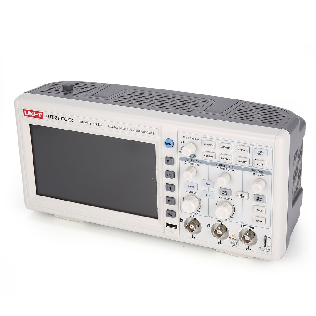 UNI-T Scope Digital Oscilloscope Mini Oscilloscope CH 100MHZ USB OTG 7 Inch EU uni t utd2102cex digital oscilloscope 100mhz bandwidth with usb otg interface 2 channels storage portable oscilloscope