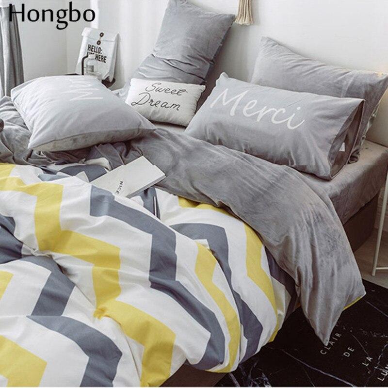 Hongbo хлопок + фланель многофункциональный AB с обеих сторон Серый Белый Желтый волнистый узор зимний пододеяльник - 4