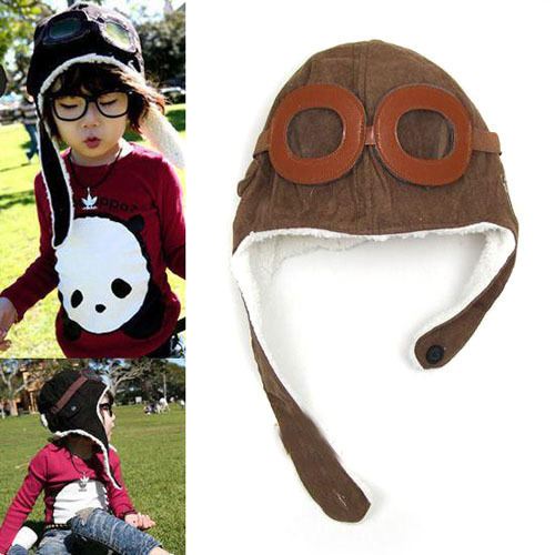 Kids Toddler Pilot Aviator Cap Fleece Hats Earflap Winter Warm Unisex Beanie Hot