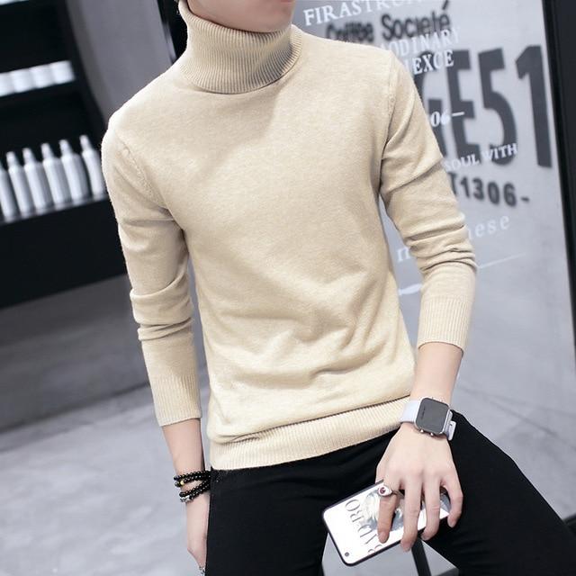 Winter High Neck Thick Warm Sweater Men Turtleneck Brand Mens Sweaters Slim  Fit Pullover Men Knitwear 78e579374
