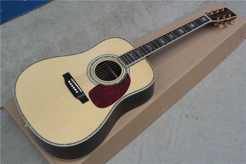Free Shipping Best Price Classic acoustic Dreadnought guitar natural Solid spruce TOP acoustic guitar with pickup in stock