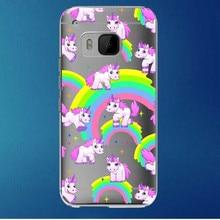 Rosa do unicórnio do arco-íris transparente capa dura tampa do telefone de plástico para HTC One M7 M8 M9 frete grátis