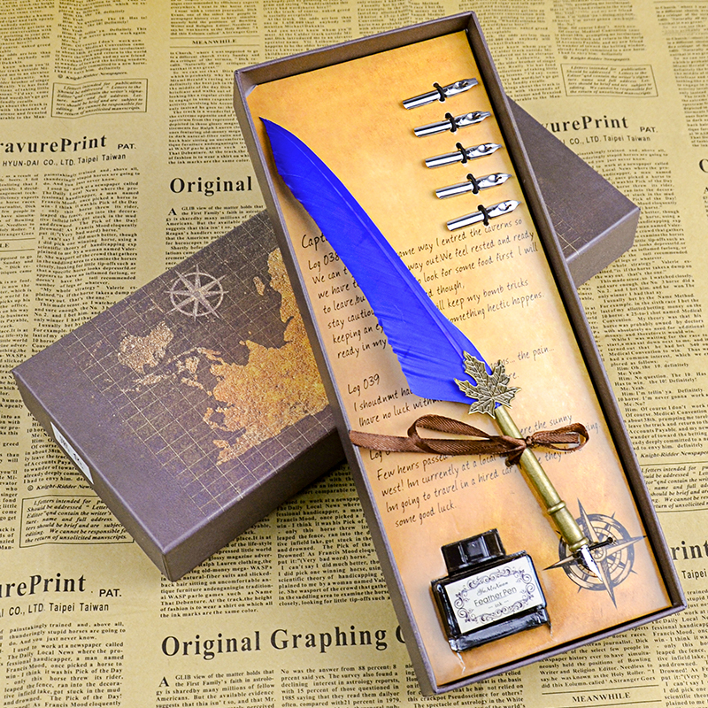 Free shipping Antique European Quill Feather Dip Pen Writing Ink Set Stationery Gift Box birthday Gift Quill Pen Fountain Pen vintage fountain pen writing ink seal wax spare tip owl stamp feather quill dip pen set antique gift school supply d14