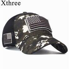 Xthree Hoge Kwaliteit Amerikaanse Vlag Baseball Cap Voor Mannen Usa Vlag Cap Camouflage Snapback Bone Hip Hop Cap Gorras Pet hombre