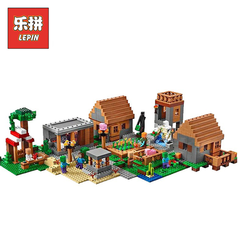 In Stock DHL Lepin Sets 18008 1673pcs Minecrafted Figures My World The Village Model Building Kits Blocks Bricks Kids Toys 21128 lepin 1106pcs my world minecraft the village model kits action anime figures building blocks bricks fun toys for children gifts