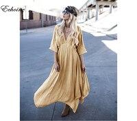 Echoine 2017 Fashion Women Dress Loose Light Thin Spring Summer Dresses Cotton Linen Long Maxi Beach