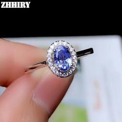 ZHHIRY натуральная натуральный голубой танзанит кольцо из стерлингового серебра 925 для Для женщин цветок кольца настоящее драгоценные Fine Jewelry