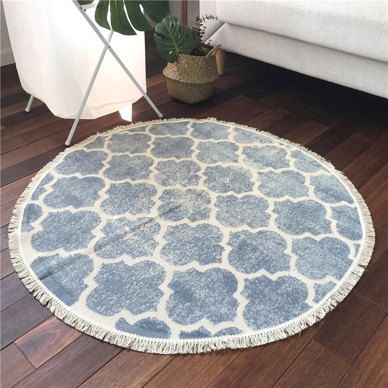 New Fashion Delicate Round Carpets For Living Room Bedroom Kitchen Rug 100X100cm Simple Cotton Home Floor Hot Sale Mat for Kids
