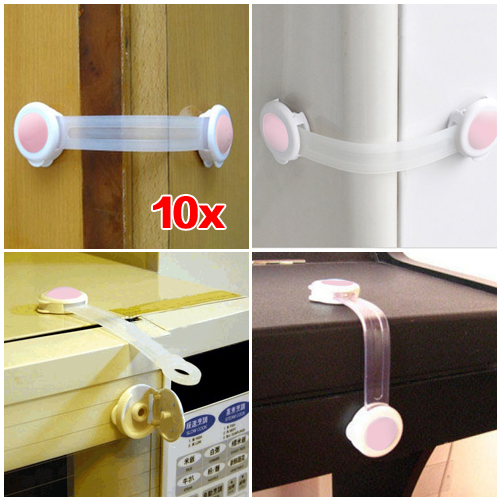 10pcs Baby Drawer Cupboard Cabinet Door Drawers Lengthened Safety Lock Latch - Pink