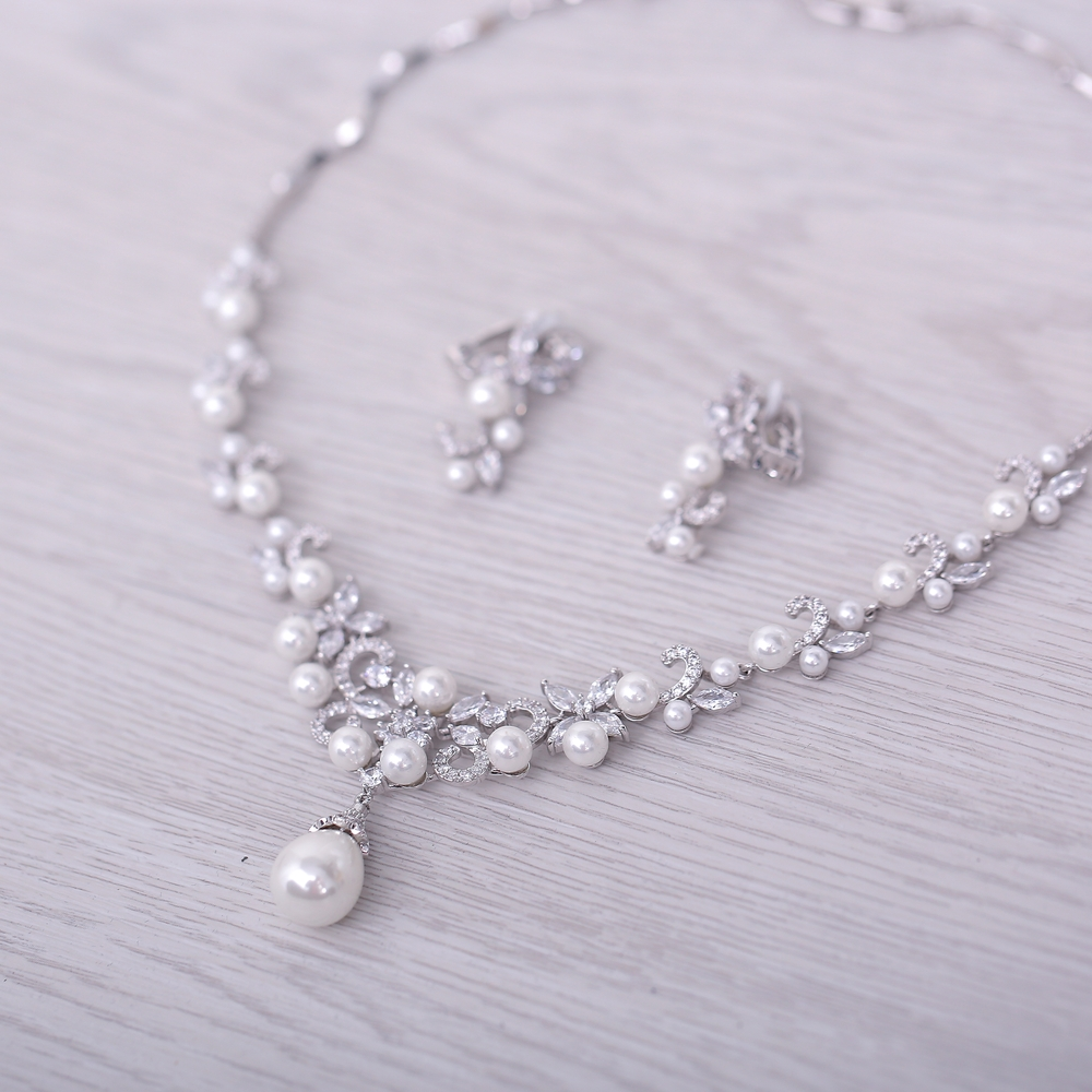 Ensembles de Bijoux de mariée de mode collier pendentif perles simulées AAA zircon cubique fleur boucles d'oreilles femmes Bijoux cadeaux - 4