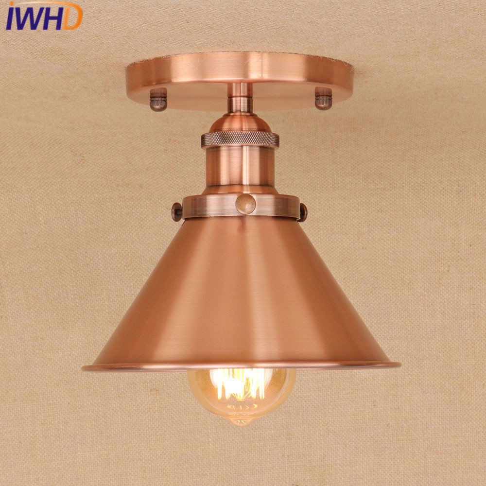 IWHD Iron Luminairias Para teto LED Ceiling Lights Kitchen Bedroom Ceiling Lamps For Living Room Lamparas de Techo Vintage Lamp led ceiling lights for hallways bedroom kitchen fixtures luminarias para teto black white black ceiling lamp modern