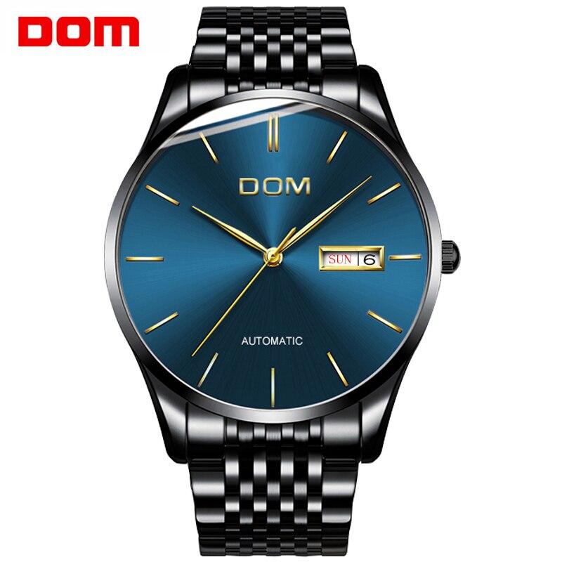 Men watch DOM New Top Brand Luxury Stainless Steel strap clock men Mechanical Wristwatches relogio masculino unique M-89BK-1M
