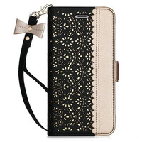 New Tide Phone Case For IPhone 6 Wallet Case Bag PU Leather Luxury Hollow Dot Pattern