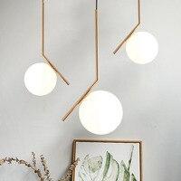 Modern creative glass ball pendant light fixture Nordic home deco dining room golden G9 LED bulb pendant lamp