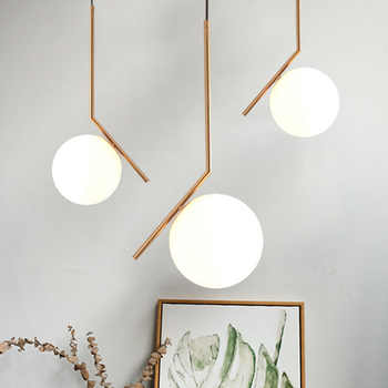 Modern creative glass ball pendant light fixture Nordic home deco dining room golden E27 LED bulb pendant lamp - DISCOUNT ITEM  28% OFF All Category