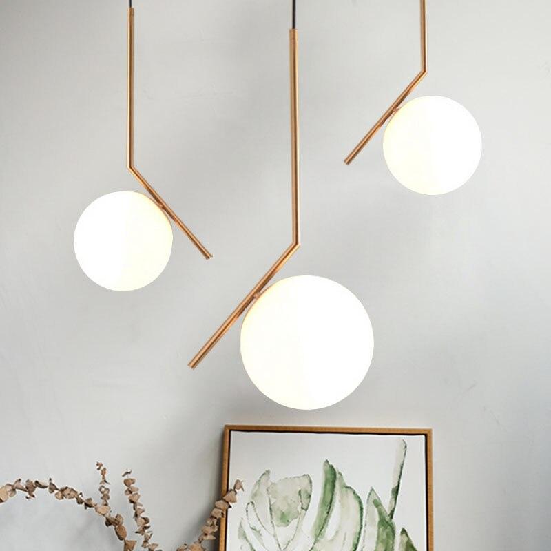 Moderne créatif boule de verre pendentif luminaire nordique maison déco salle à manger doré G9 LED ampoule suspension lampe