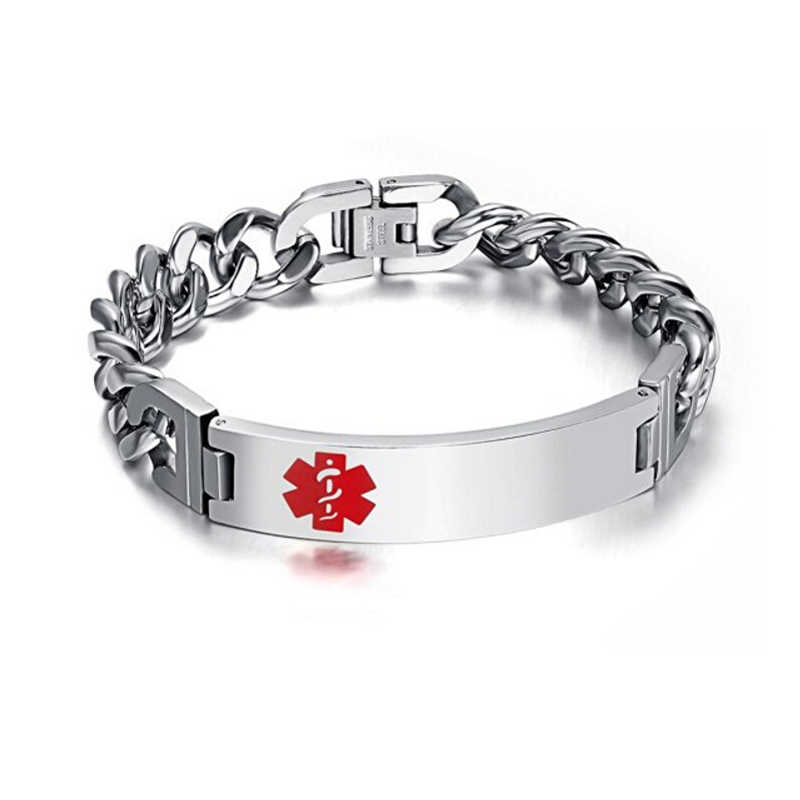 Customized Medical Alert ID Link Chain Bracelet Jewelry Free Engraved Infomation Quality Men Bangle