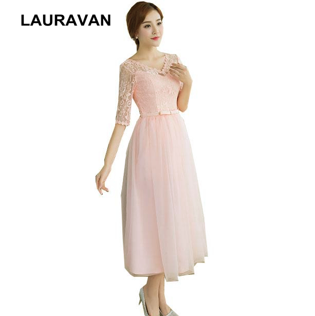 robes de soiree short v neck party girls gradient modest   bridesmaid     dresses   pink peach   dress   ball gown with lace ball gowns