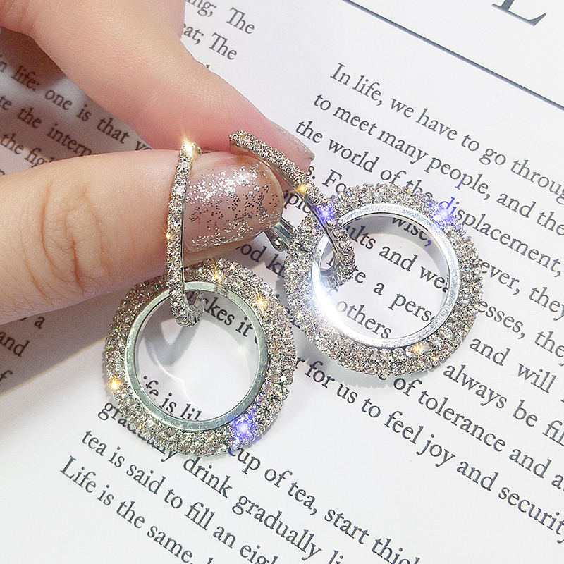 HTB1AC.AXiDxK1RjSsphq6zHrpXax - NEW 925 silver needle rhinestone circle crystal from Swarovskis earrings temperament Korean personality wild Mother's Day gift