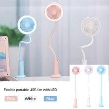 Flexible portable USB fan with LED light 2 speeds adjustable cooler Mini practical fan desktop small USB cooling fan for child usb led cooling fan