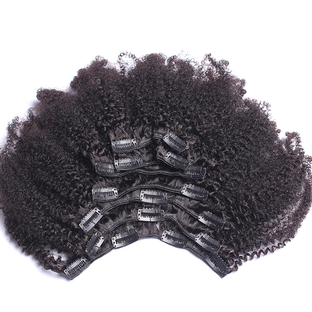 Afro Kinky Curly Clip In Human Hair Extensions 4b 4c Brazilian Human