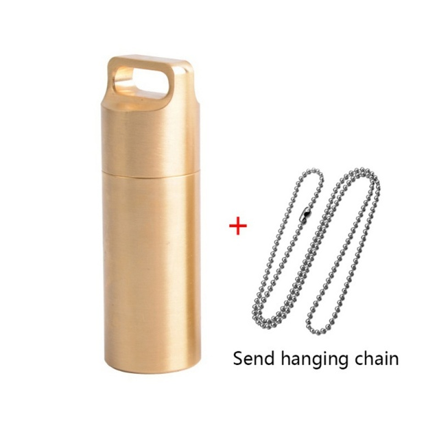 New EDC Outdoors Emergency Survival H62 Brass Bottle Pill Box Waterproof Capsule Seal Portable Bonus 69CM Chain