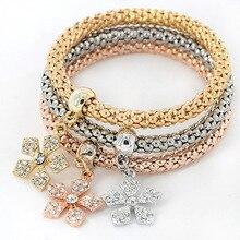 Hot Sale Flower Pendant Bracelets Bangles Gold/Silver Plated Friendship Bracelets Bijioux Charm Bracelet For Women